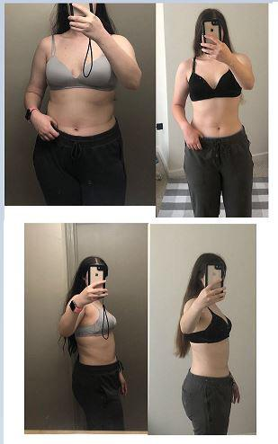 20 lbs Weight Loss Before and After 5 feet 7 Female 180 lbs to 160 lbs