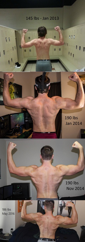 53 lbs Muscle Gain Before and After 5 foot 11 Male 133 lbs to 186 lbs