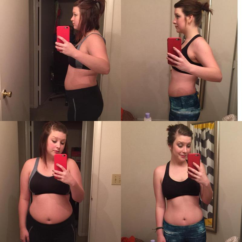 5'4 Female Before and After 34 lbs Fat Loss 164 lbs to 130 lbs