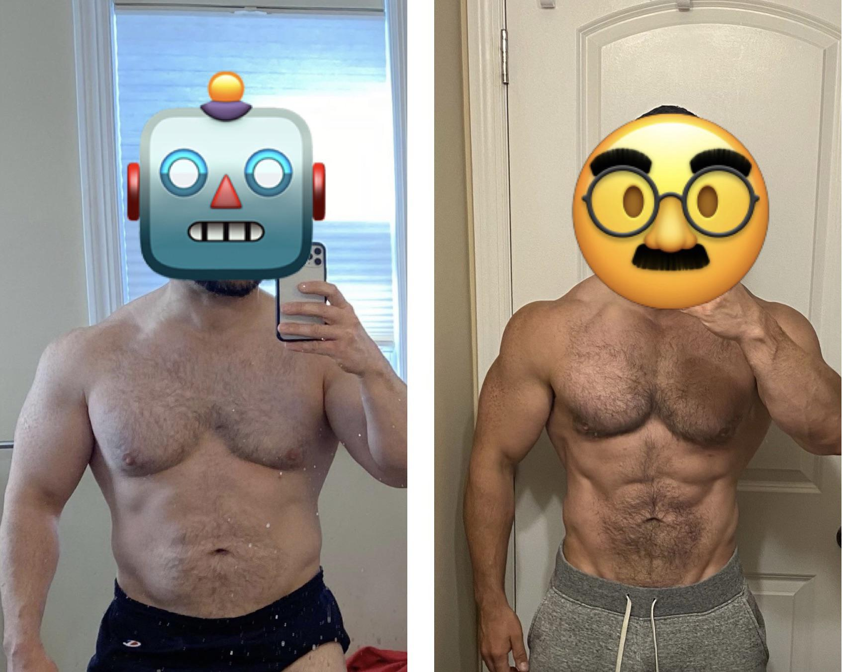 Before and After 20 lbs Fat Loss 5'8 Male 225 lbs to 205 lbs
