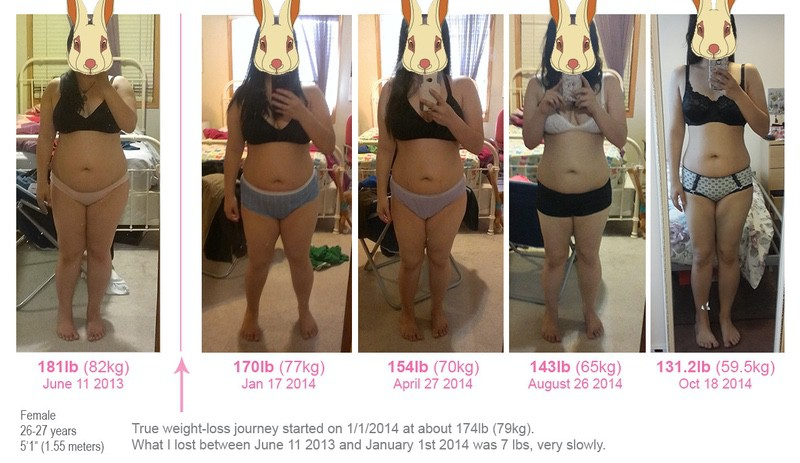 Before and After 43 lbs Fat Loss 5'1 Female 174 lbs to 131 lbs