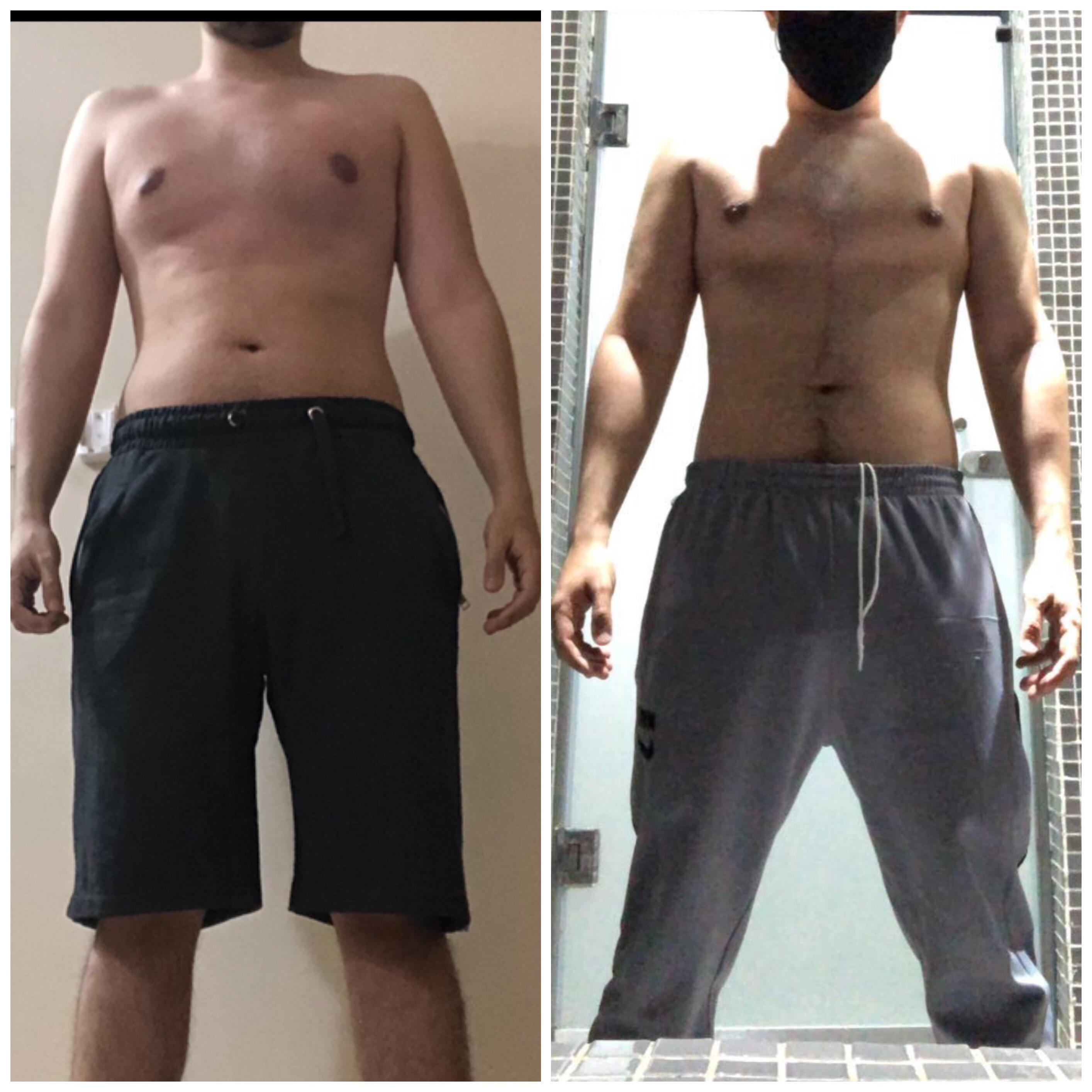 Before and After 3 lbs Weight Loss 5 foot 5 Male 150 lbs to 147 lbs