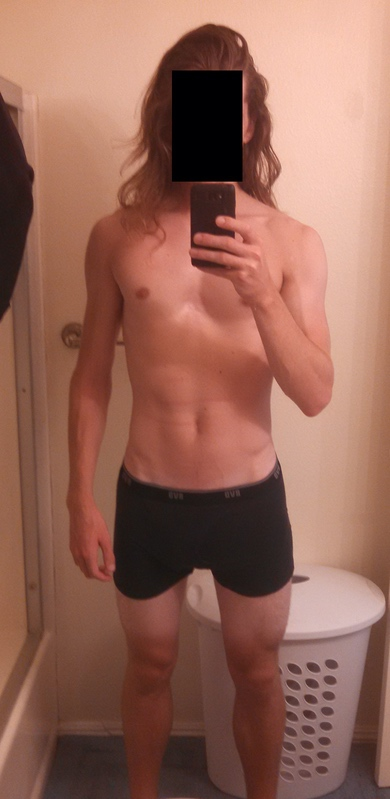 Before and After 40 lbs Weight Gain 6 foot 2 Male 145 lbs to 185 lbs
