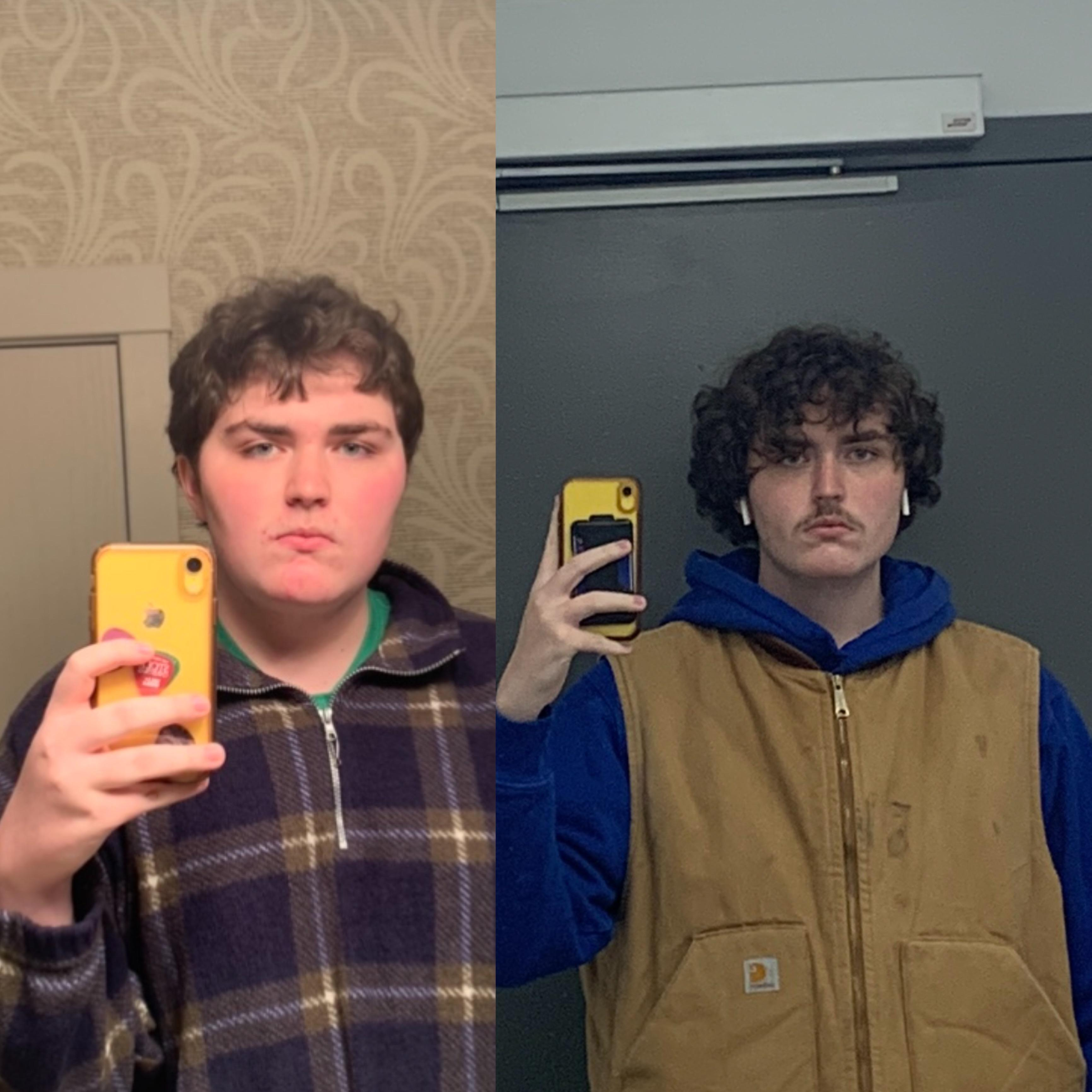 Before and After 100 lbs Weight Loss 6 foot 4 Male 300 lbs to 200 lbs