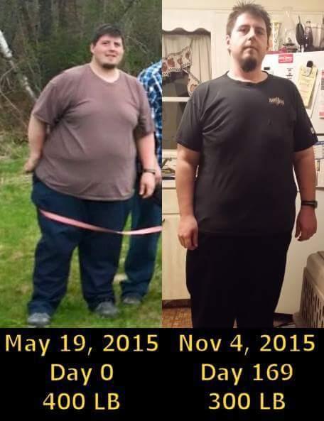 6 foot Male Progress Pics of 100 lbs Weight Loss 400 lbs to 300 lbs