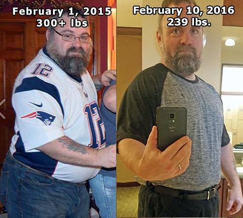 61 lbs Fat Loss 5 foot 8 Male 300 lbs to 239 lbs