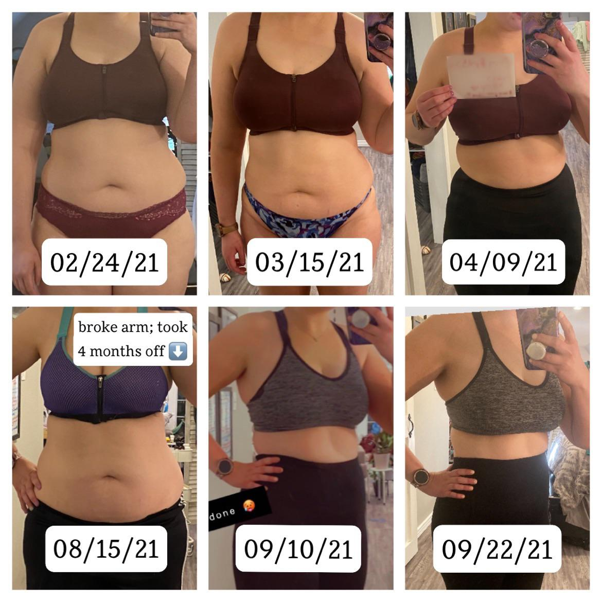 Before and After 30 lbs Weight Loss 5 feet 9 Female 225 lbs to 195 lbs