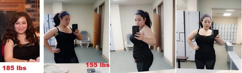 32 lbs Weight Loss Before and After 4'10 Female 187 lbs to 155 lbs
