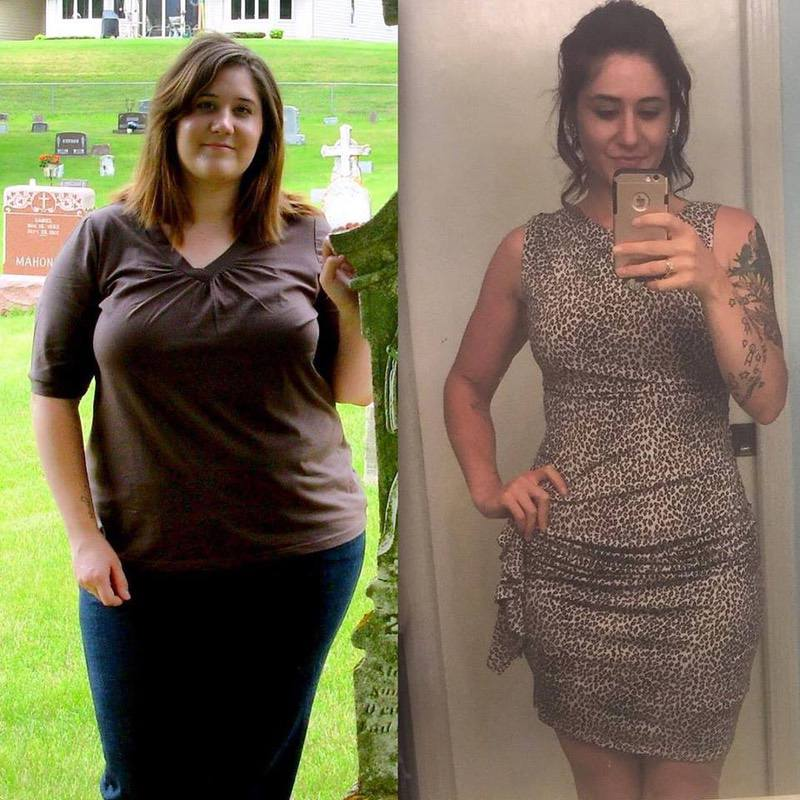 Before and After 160 lbs Weight Loss 5'6 Female 300 lbs to 140 lbs