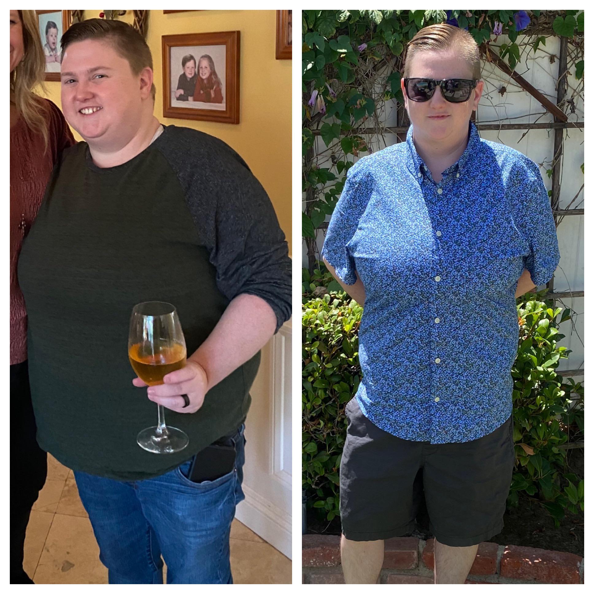 5 foot 1 Female Progress Pics of 75 lbs Fat Loss 220 lbs to 145 lbs