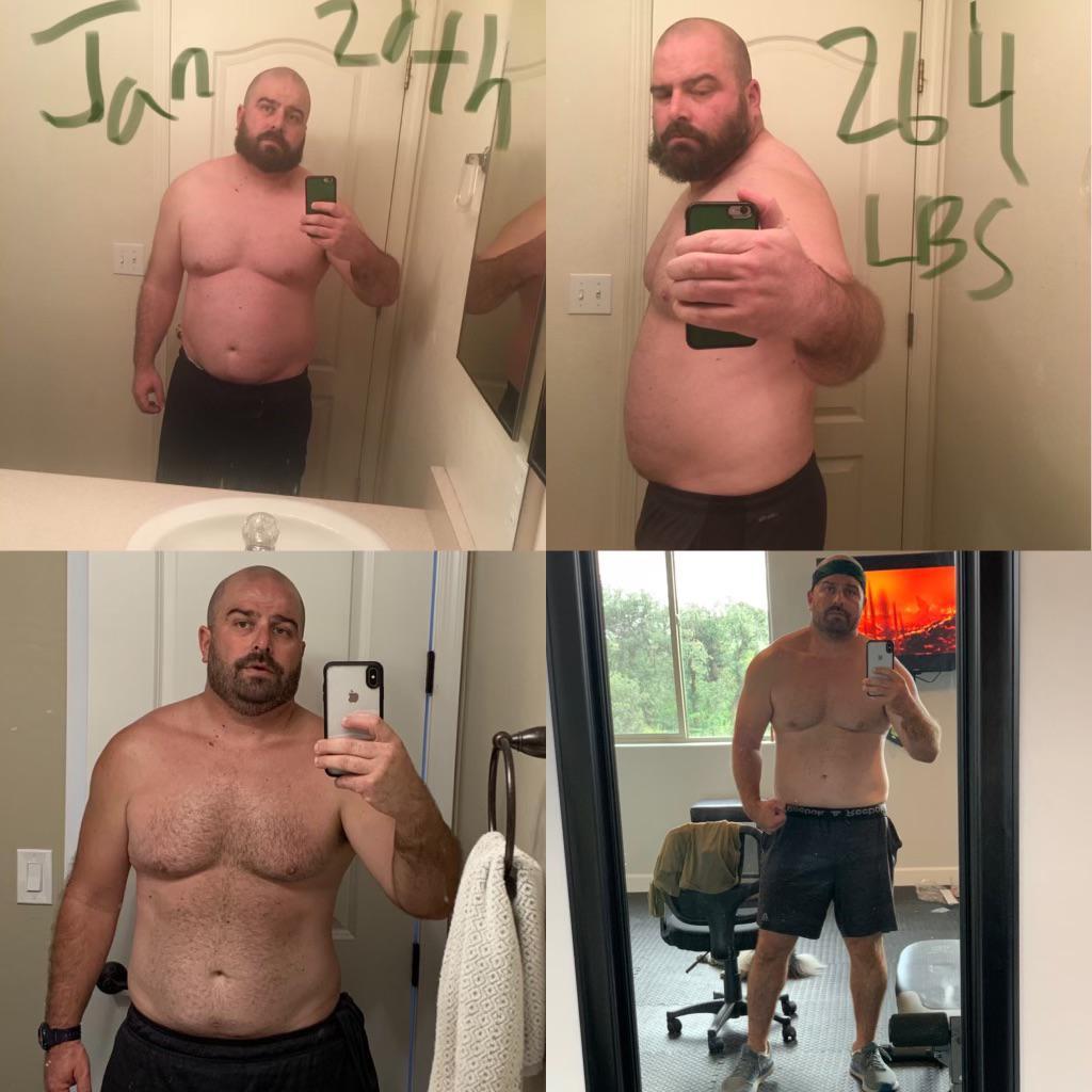 5 feet 11 Male 40 lbs Fat Loss 264 lbs to 224 lbs