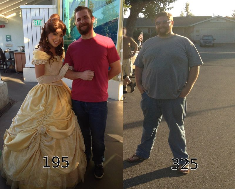 Before and After 130 lbs Weight Loss 5 foot 9 Male 325 lbs to 195 lbs