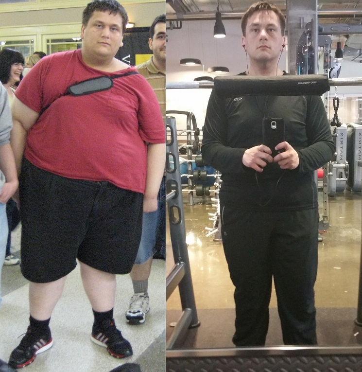 Before and After 140 lbs Weight Loss 5 foot 11 Male 385 lbs to 245 lbs