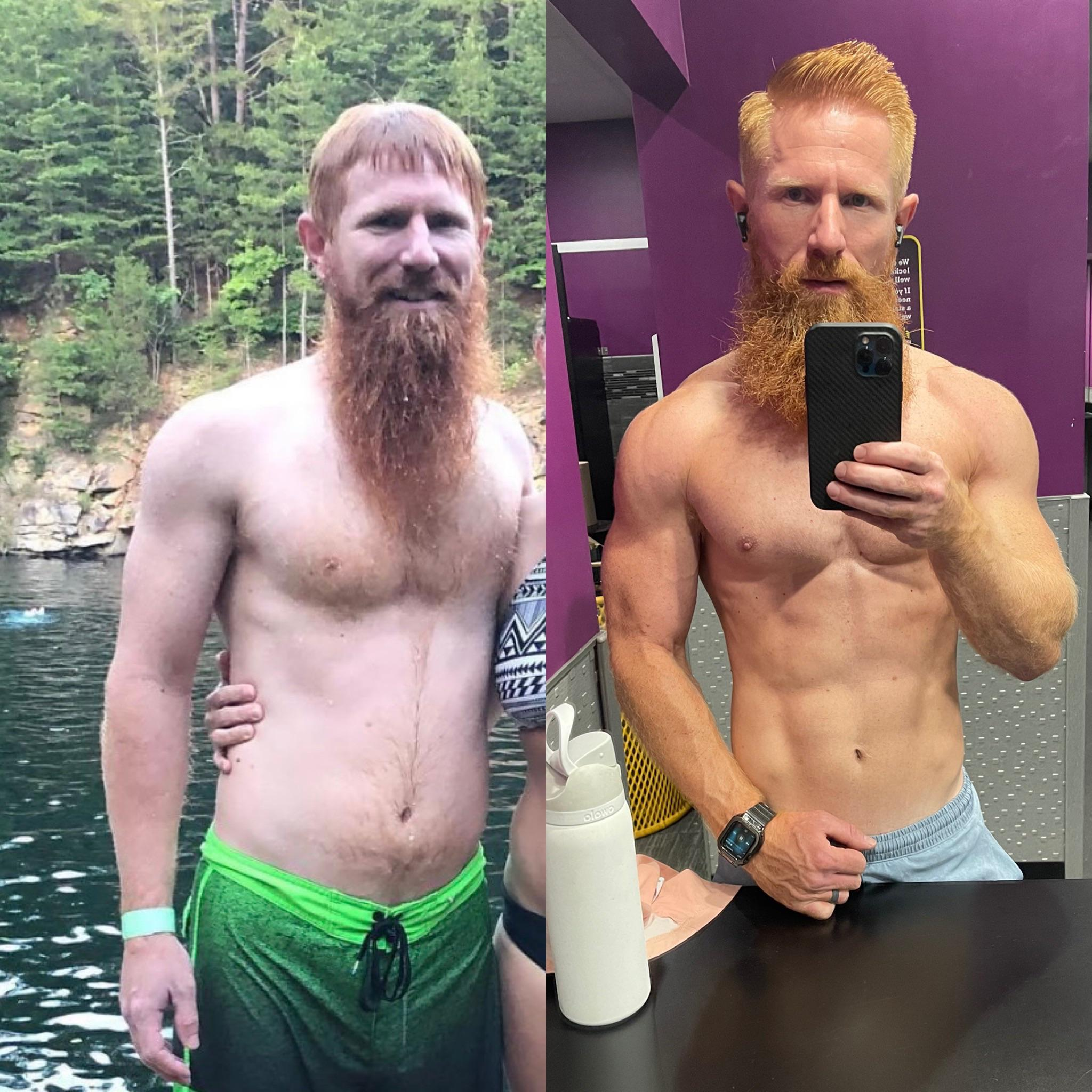15 lbs Fat Loss Before and After 6 foot Male 180 lbs to 165 lbs