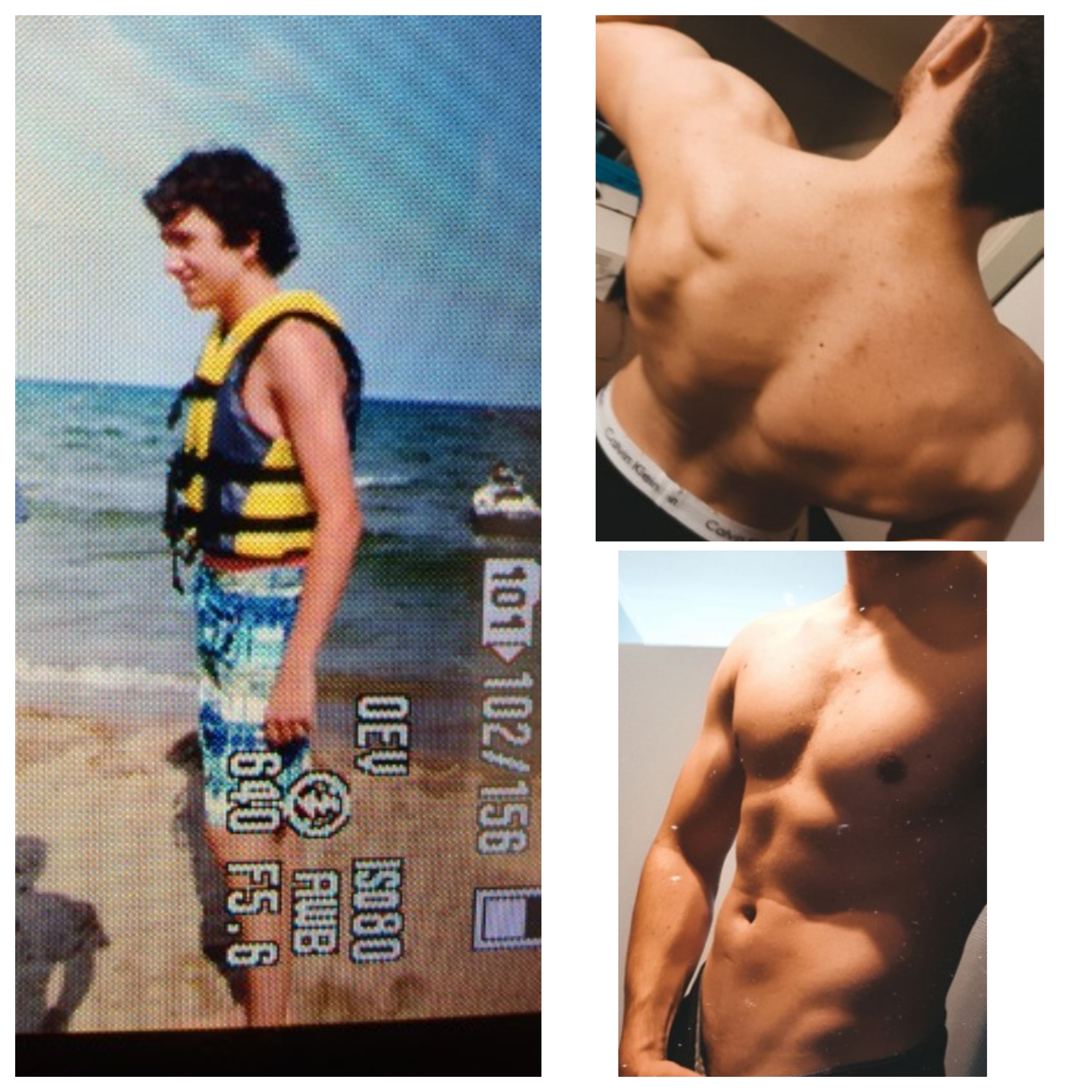 6 foot 1 Male Before and After 37 lbs Muscle Gain 143 lbs to 180 lbs