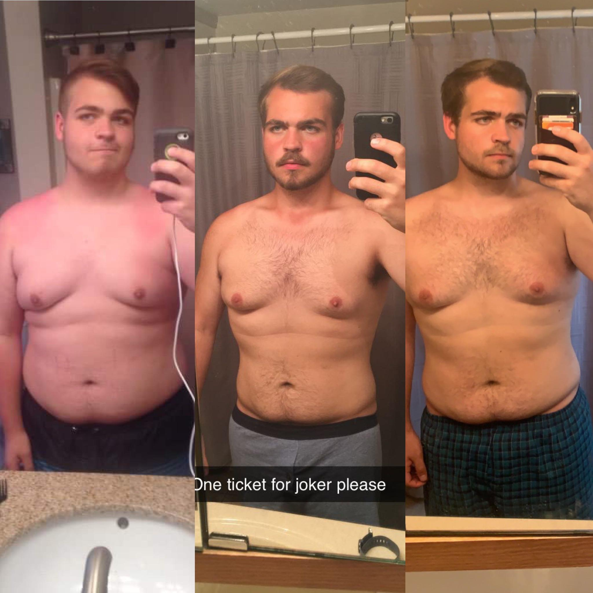 Before and After 78 lbs Fat Loss 5 foot 10 Male 260 lbs to 182 lbs