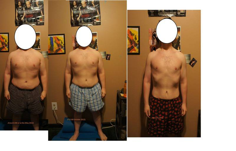 Before and After 70 lbs Weight Loss 5 feet 3 Male 220 lbs to 150 lbs