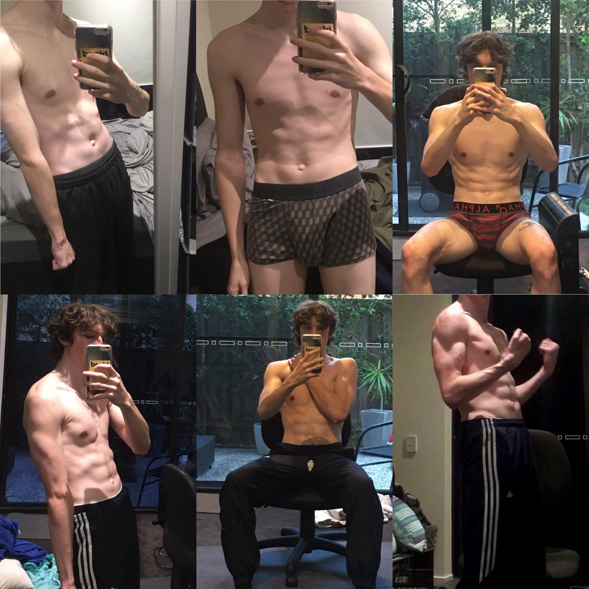5'10 Male Before and After 25 lbs Weight Gain 125 lbs to 150 lbs