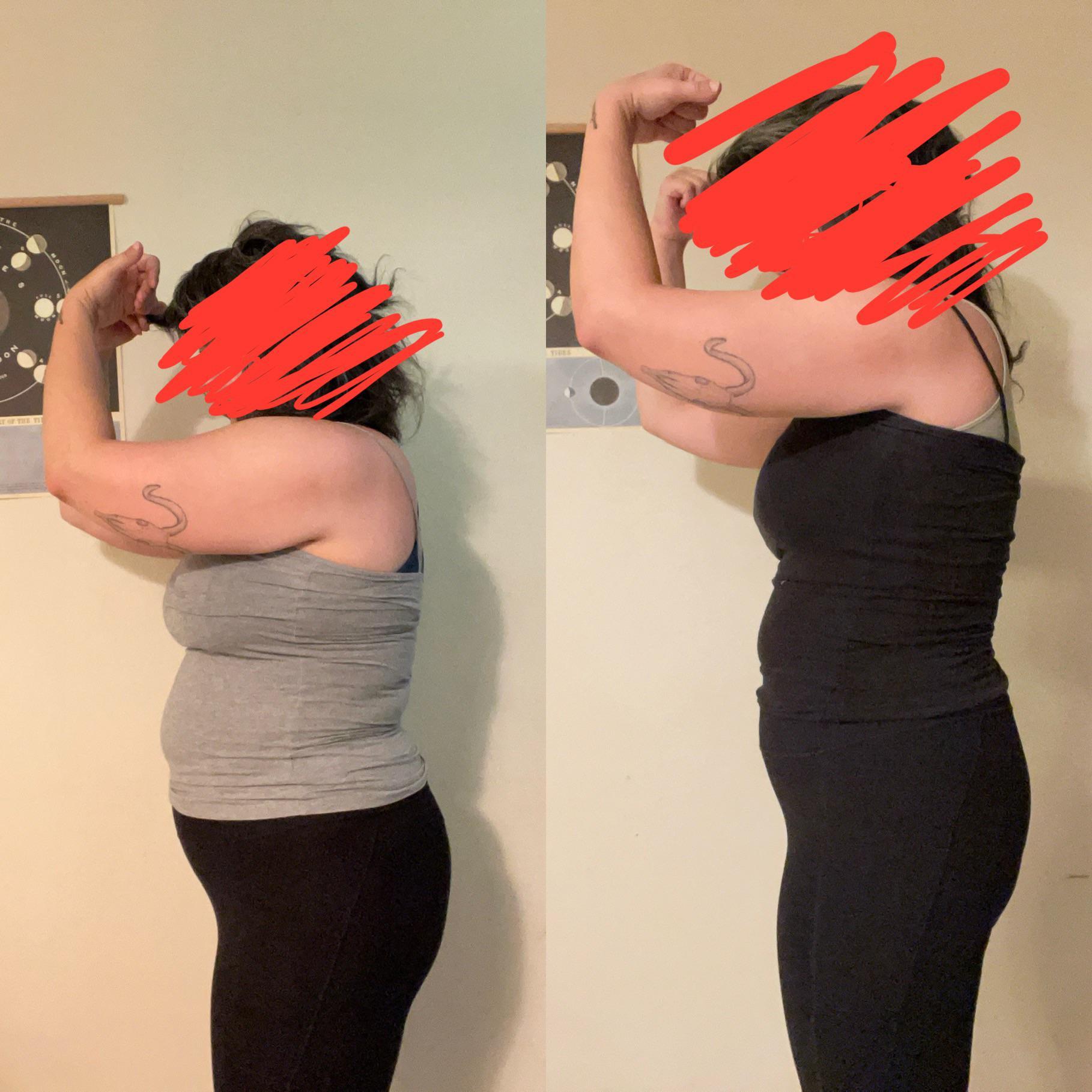 5'6 Female 30 lbs Fat Loss 212 lbs to 182 lbs
