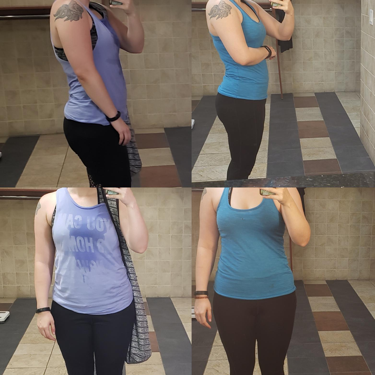 5 feet 5 Female Before and After 10 lbs Fat Loss 163 lbs to 153 lbs