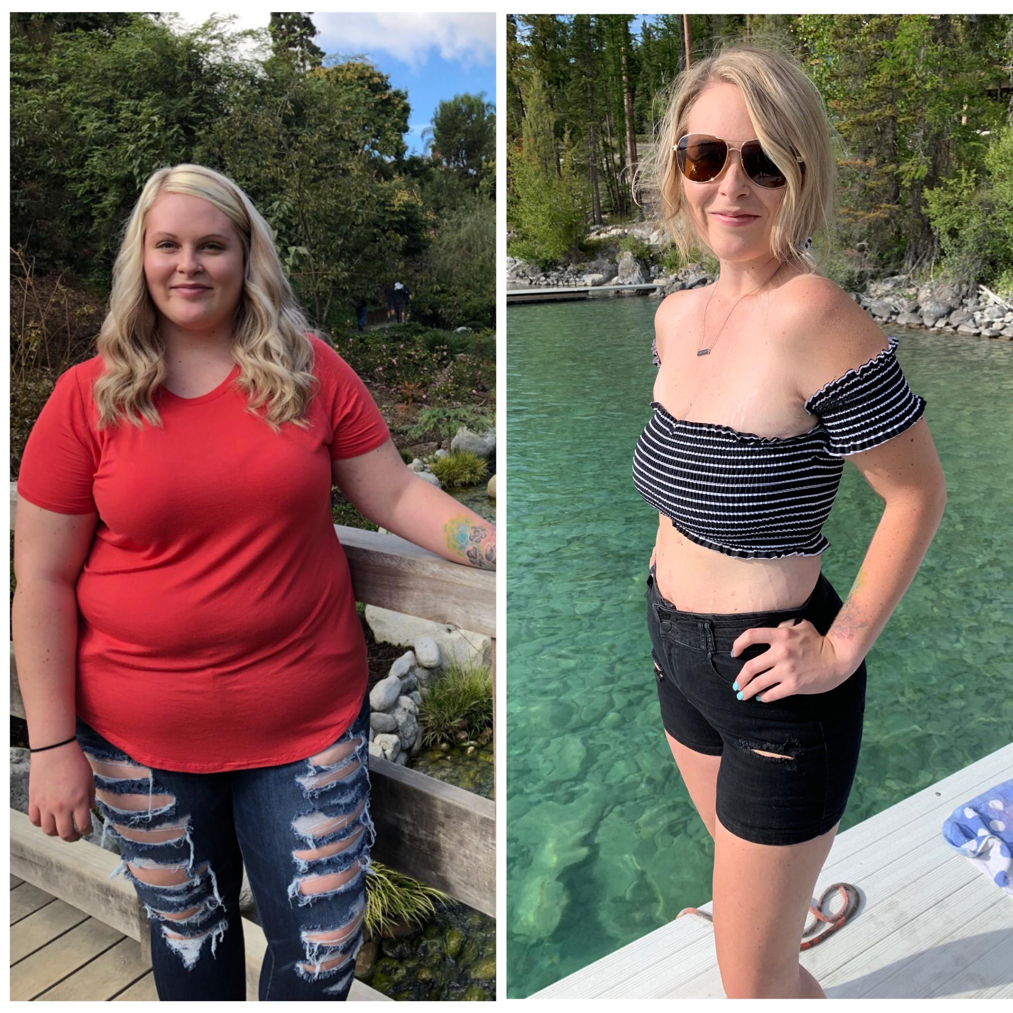 5'6 Female Before and After 114 lbs Fat Loss 272 lbs to 158 lbs