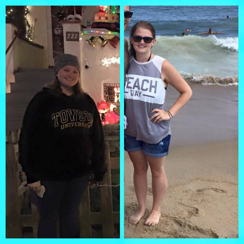 Before and After 45 lbs Fat Loss 5'3 Female 195 lbs to 150 lbs