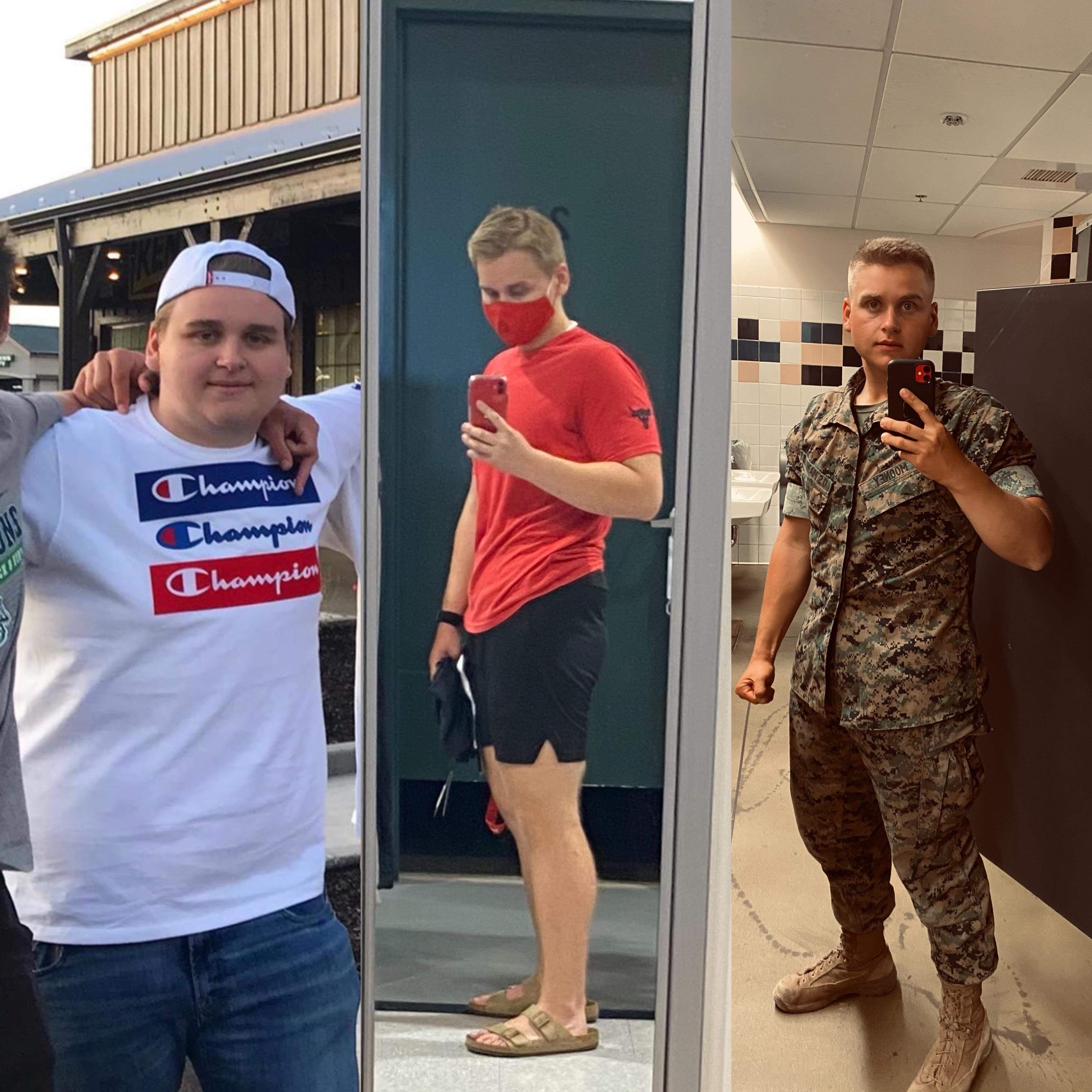 Before and After 180 lbs Fat Loss 6 foot 1 Male 385 lbs to 205 lbs