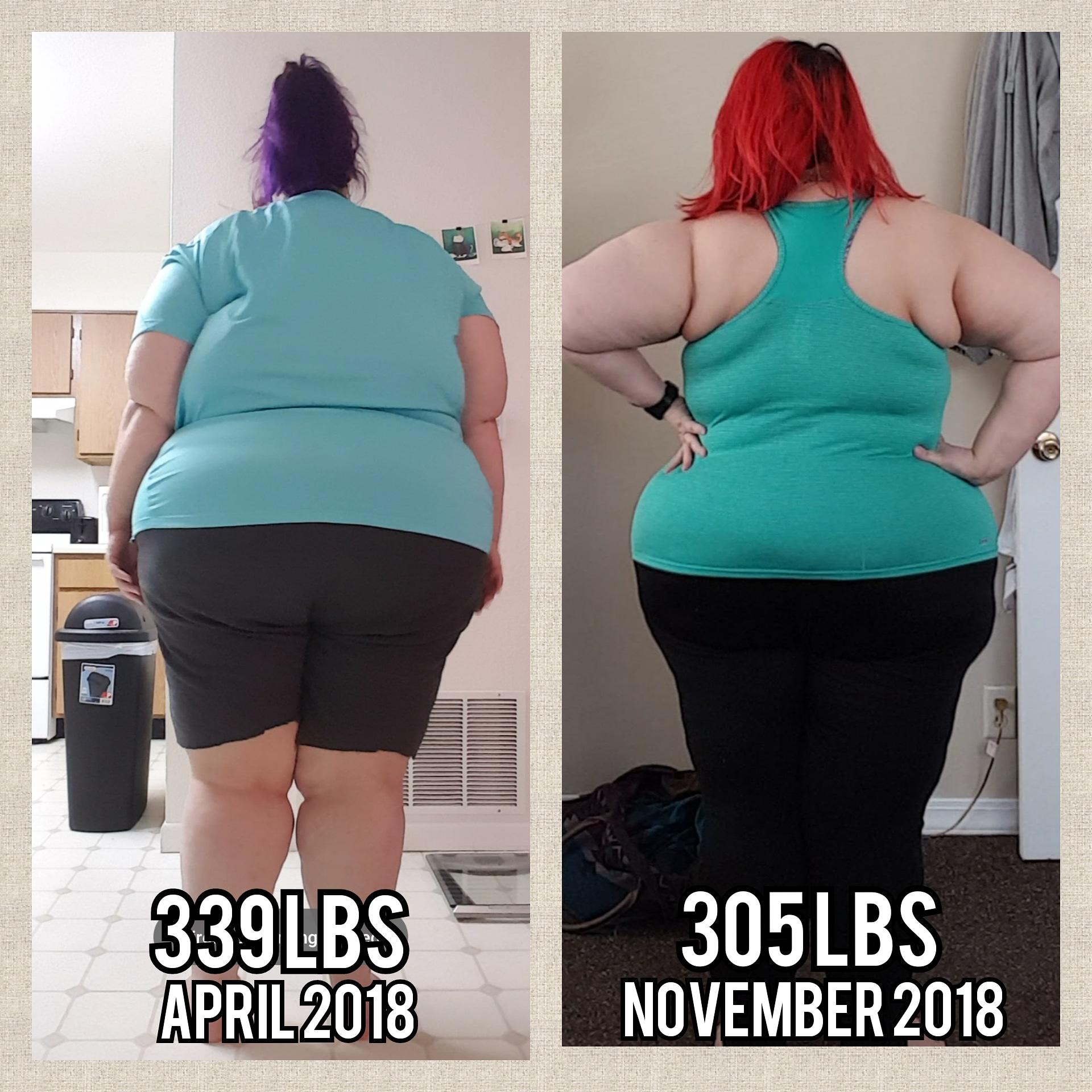Progress Pics of 35 lbs Fat Loss 5 feet 4 Female 340 lbs to 305 lbs
