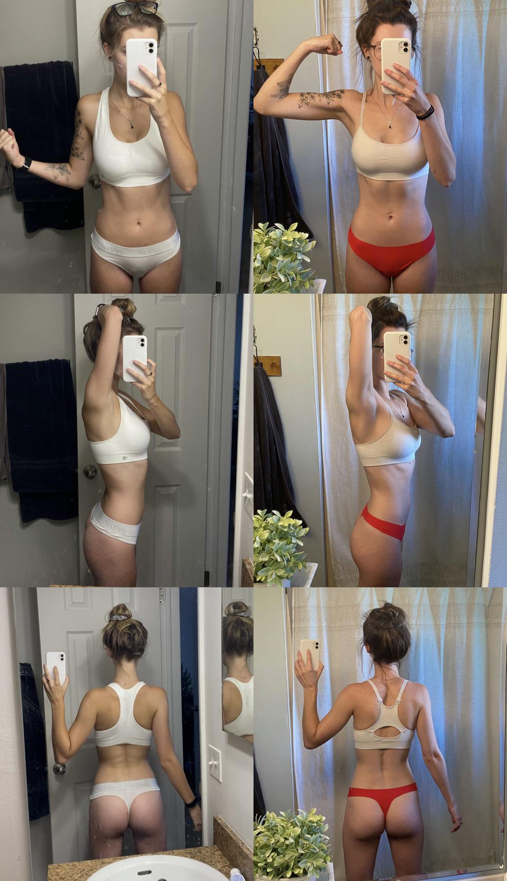5 lbs Muscle Gain Before and After 5 feet 5 Female 106 lbs to 111 lbs