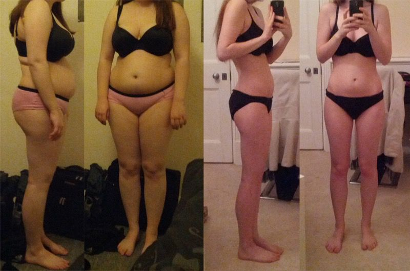 Before and After 42 lbs Weight Loss 5'4 Female 156 lbs to 114 lbs