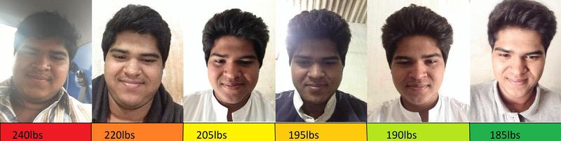 Before and After 55 lbs Fat Loss 5 feet 10 Male 240 lbs to 185 lbs