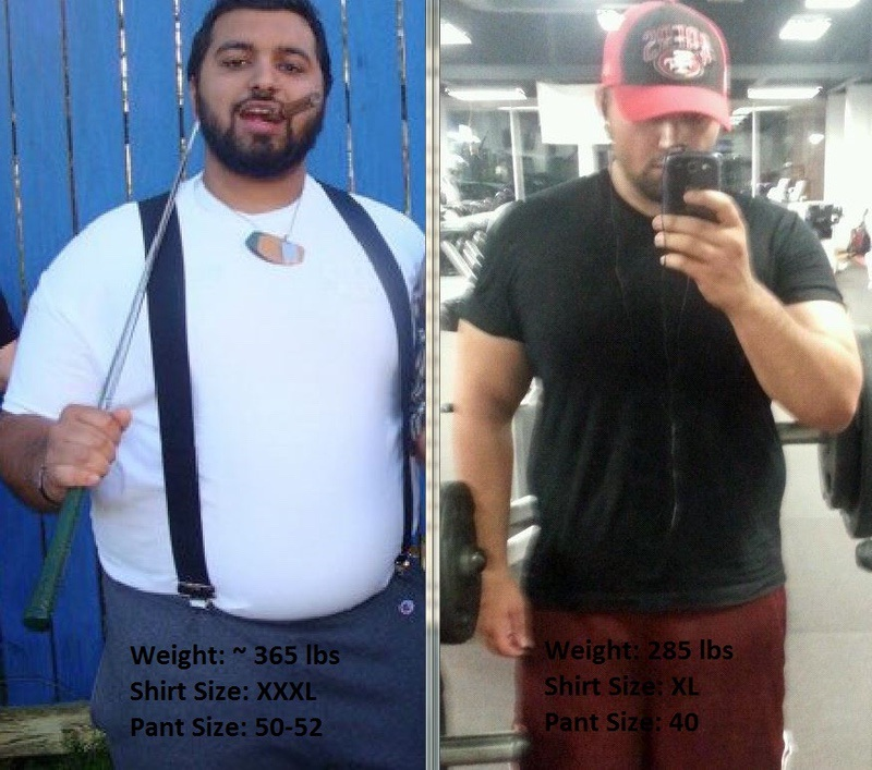6 feet 1 Male Before and After 80 lbs Weight Loss 365 lbs to 285 lbs