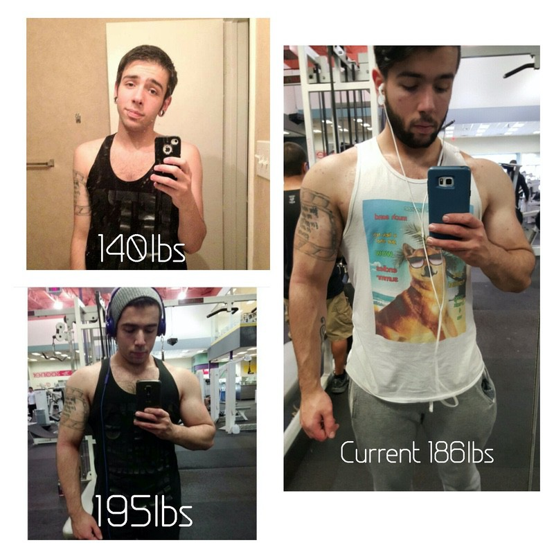 5 foot 8 Male 55 lbs Muscle Gain Before and After 140 lbs to 195 lbs
