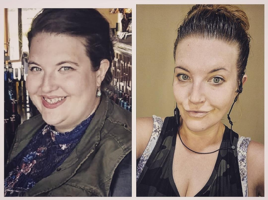 Before and After 76 lbs Weight Loss 5 foot 5 Female 258 lbs to 182 lbs