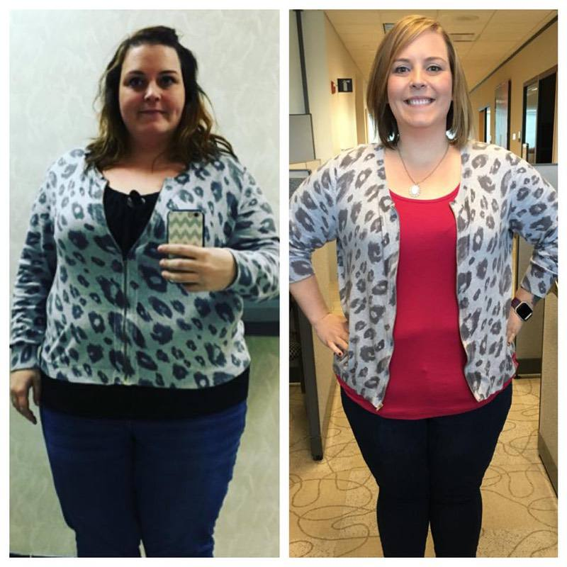 Before and After 53 lbs Weight Loss 5 foot 4 Female 291 lbs to 238 lbs