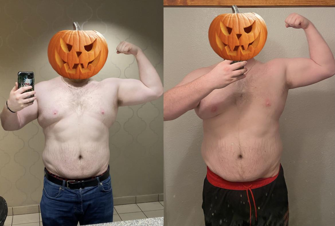 66 lbs Weight Loss Before and After 6 foot 1 Male 356 lbs to 290 lbs