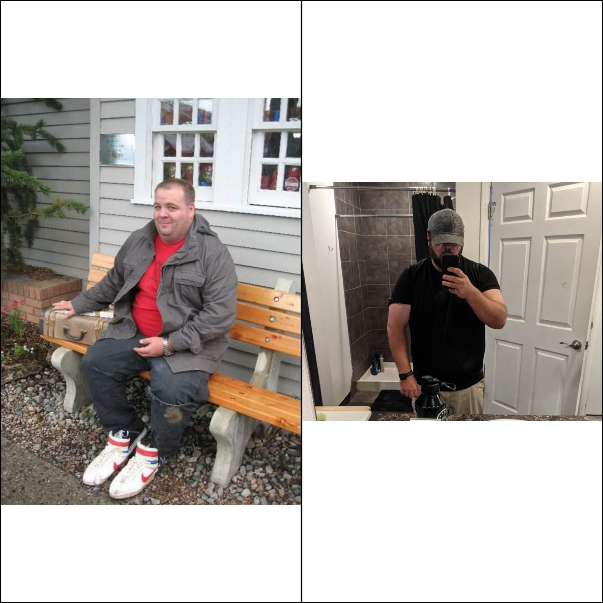 Progress Pics of 55 lbs Weight Loss 5 feet 11 Male 345 lbs to 290 lbs