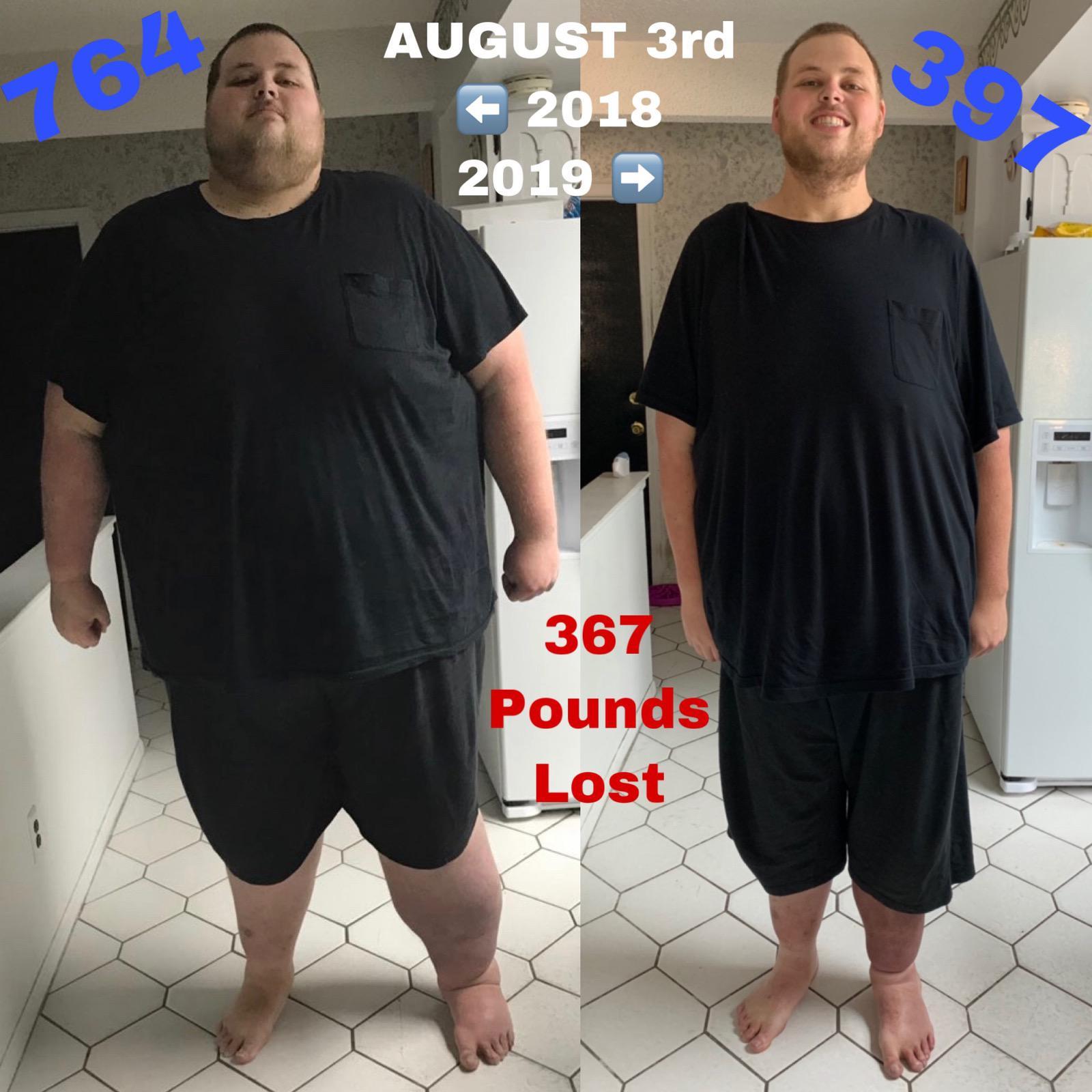 367 lbs Fat Loss 6 foot 8 Male 764 lbs to 397 lbs