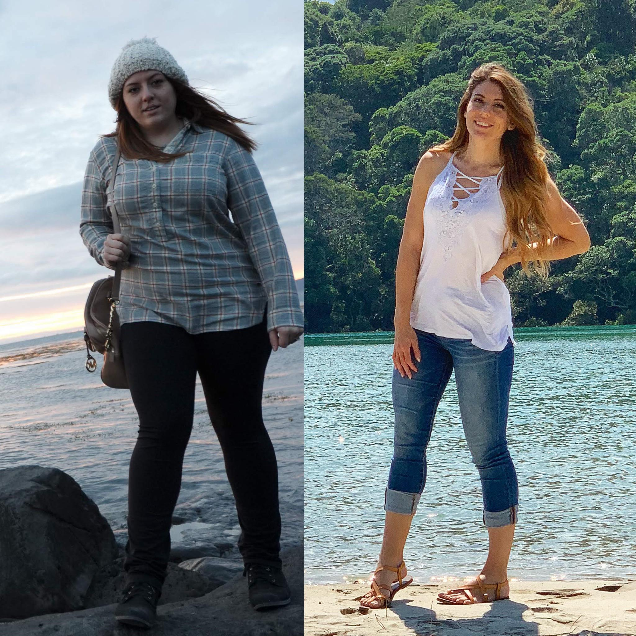5 feet 6 Female Before and After 80 lbs Weight Loss 230 lbs to 150 lbs