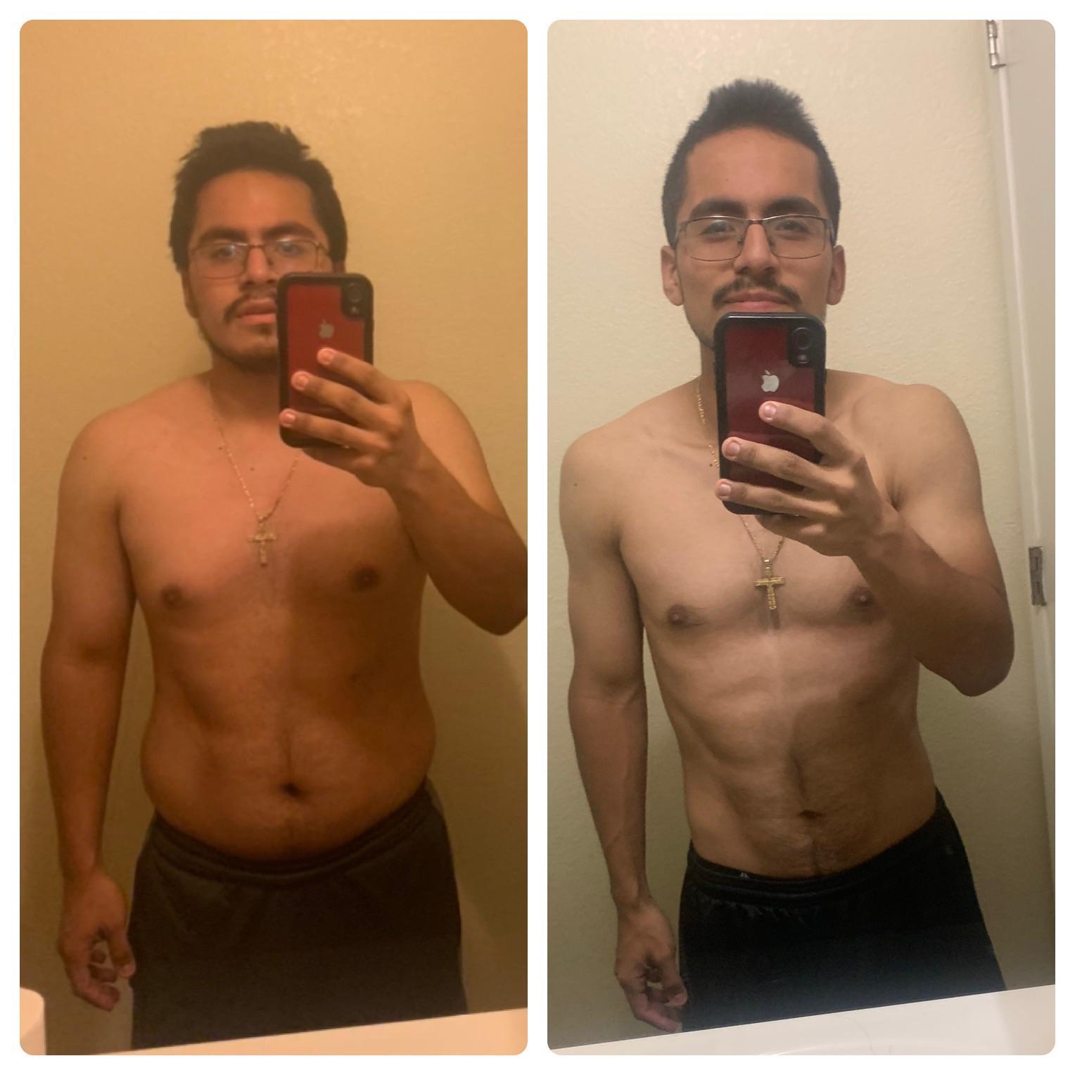 42 lbs Fat Loss 5'5 Male 187 lbs to 145 lbs