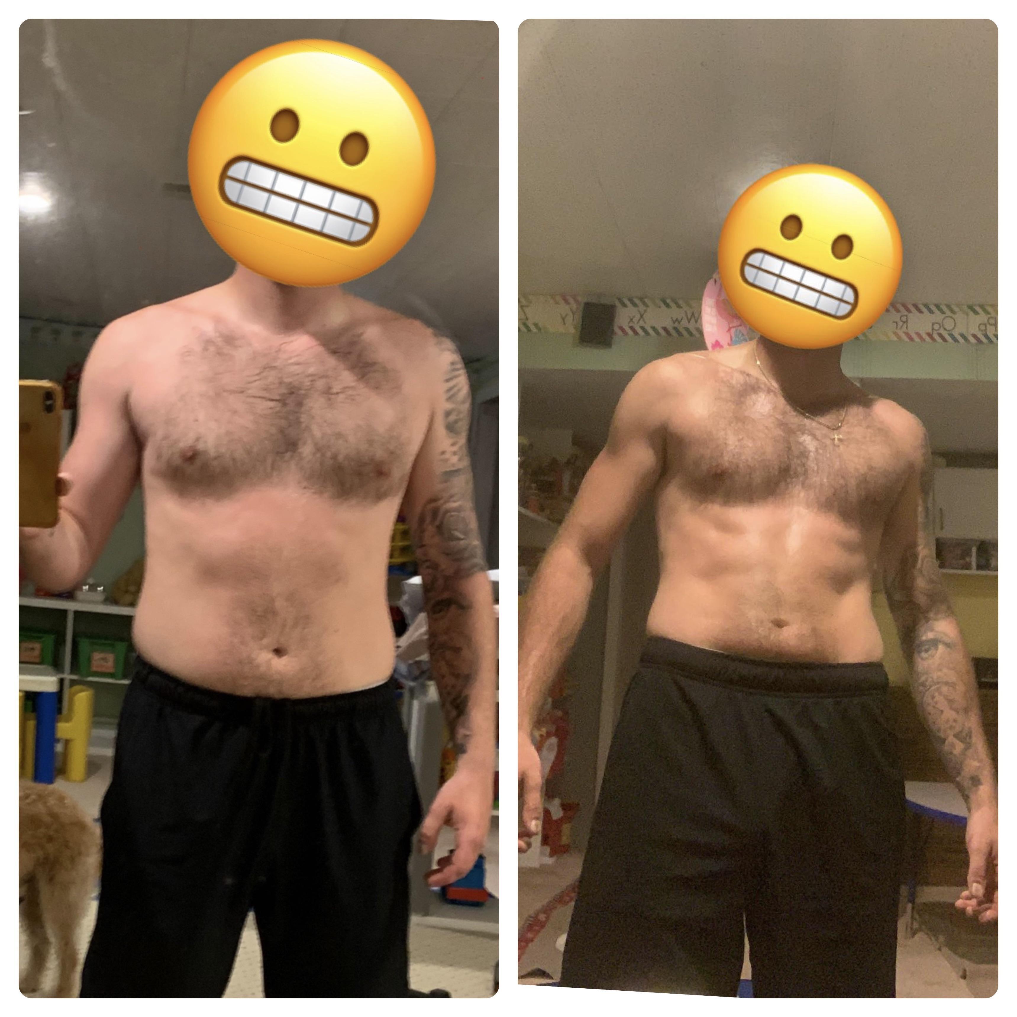 15 lbs Fat Loss 5 feet 11 Male 180 lbs to 165 lbs