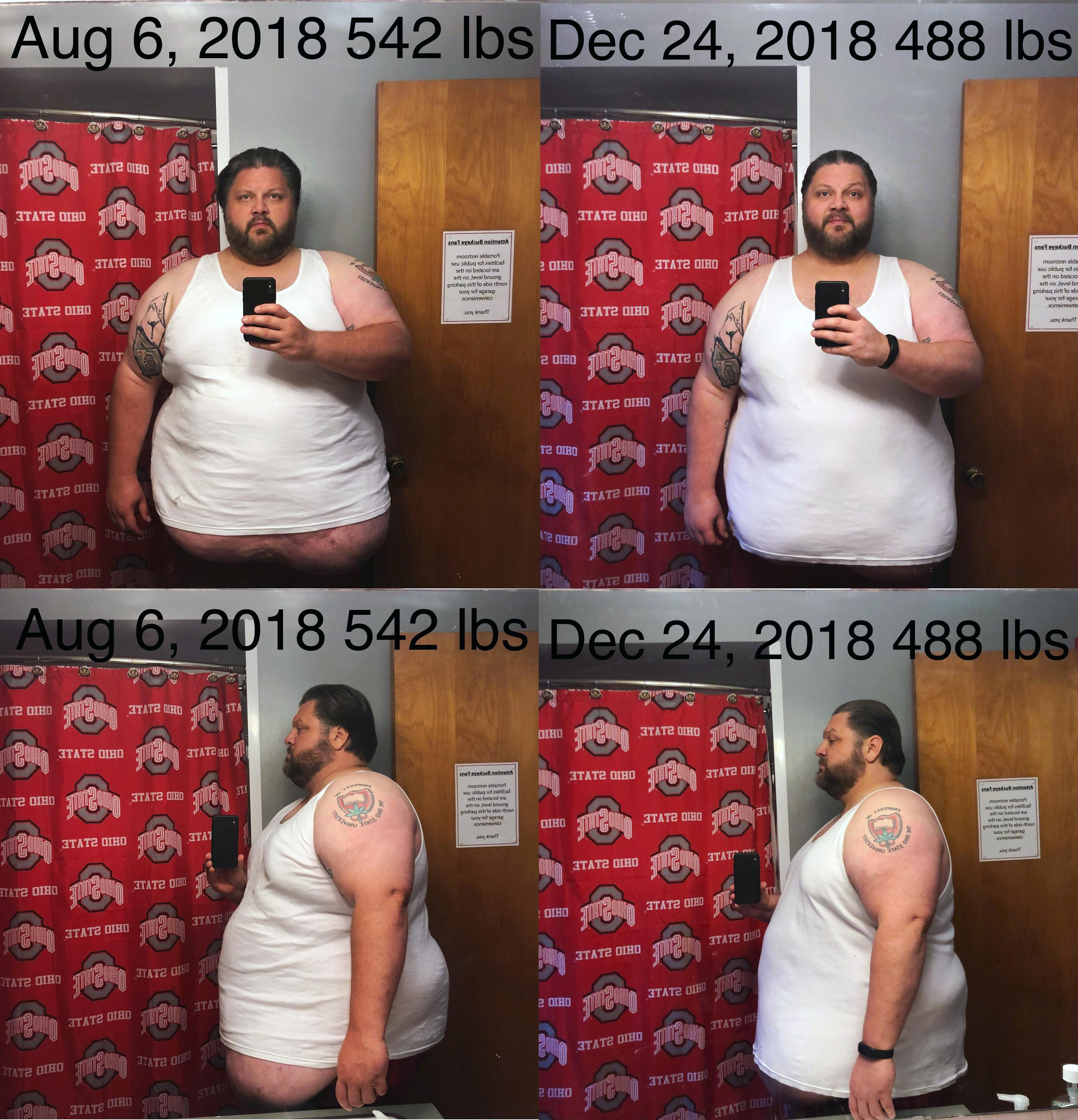6 feet 1 Male 54 lbs Fat Loss Before and After 542 lbs to 488 lbs