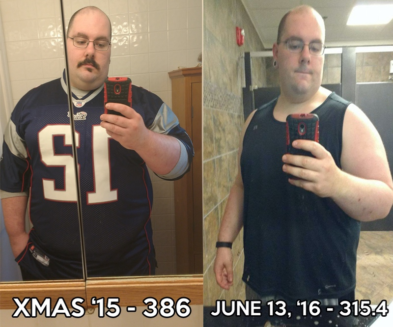 71 lbs Weight Loss 5 feet 11 Male 386 lbs to 315 lbs