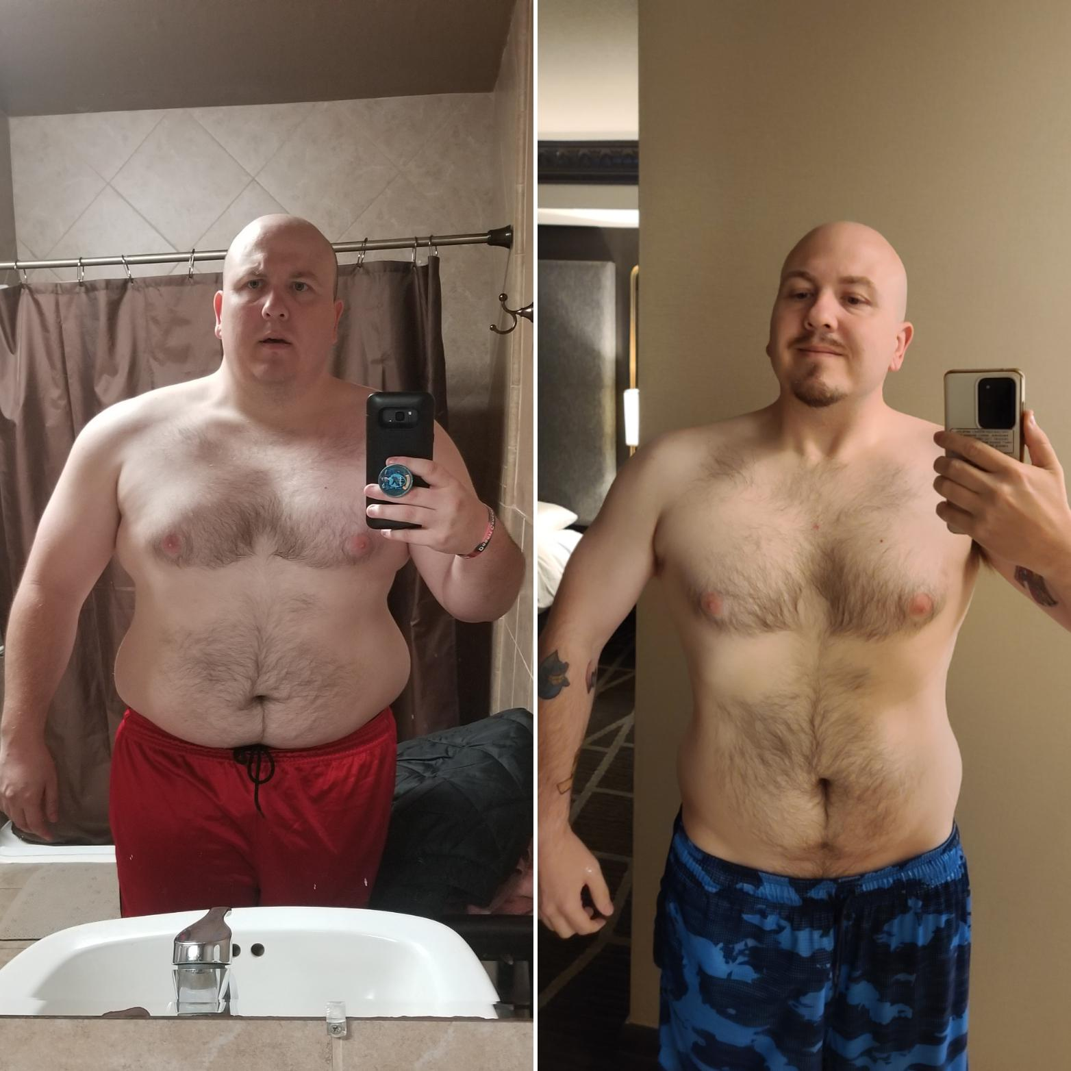 5 foot 7 Male Before and After 133 lbs Fat Loss 330 lbs to 197 lbs