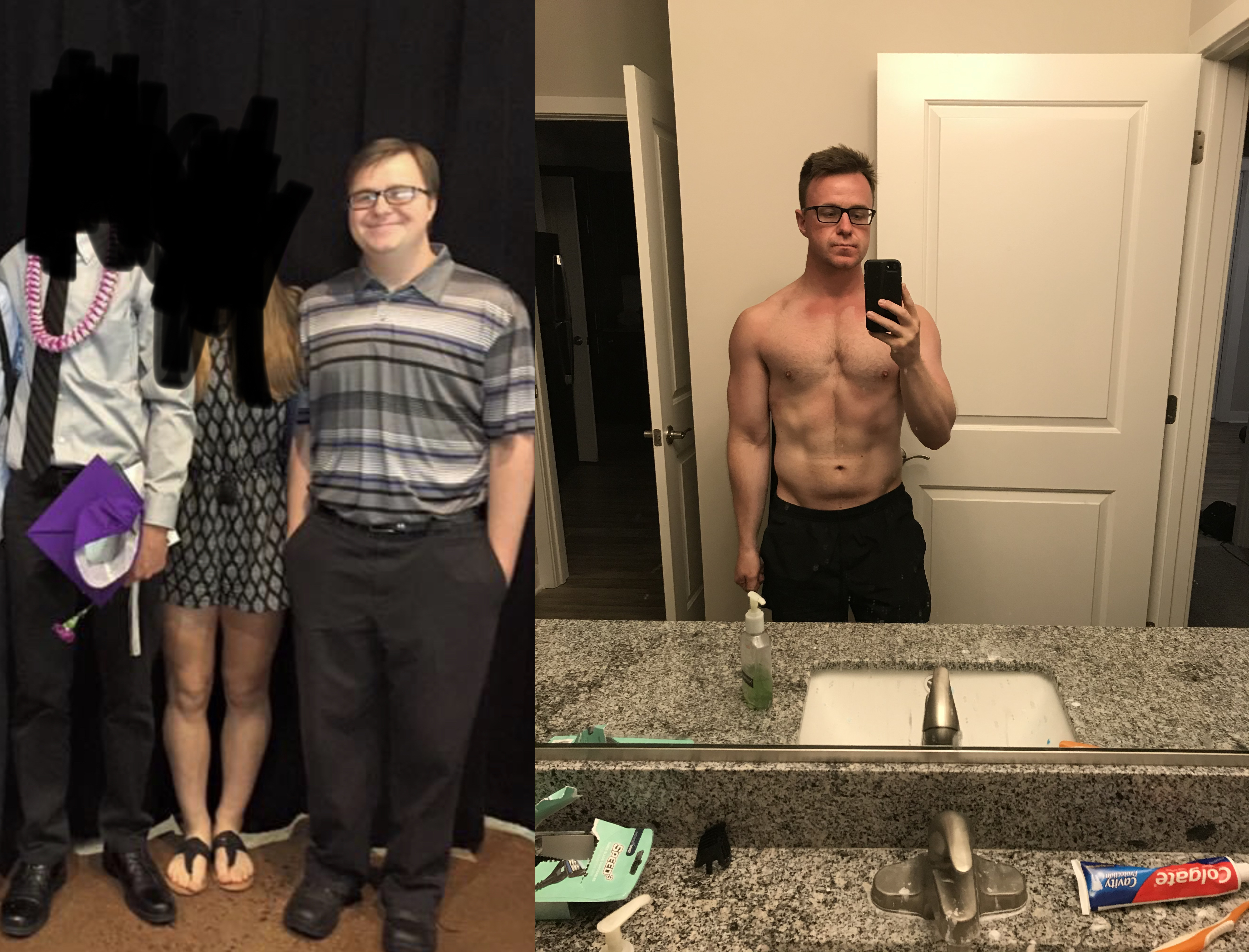 18 lbs Weight Loss Before and After 5 foot 9 Male 201 lbs to 183 lbs