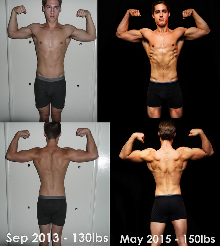Before and After 20 lbs Muscle Gain 5 feet 9 Male 130 lbs to 150 lbs