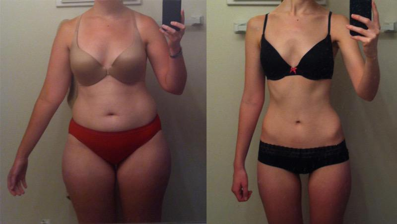 5 foot 2 Female Before and After 43 lbs Fat Loss 148 lbs to 105 lbs