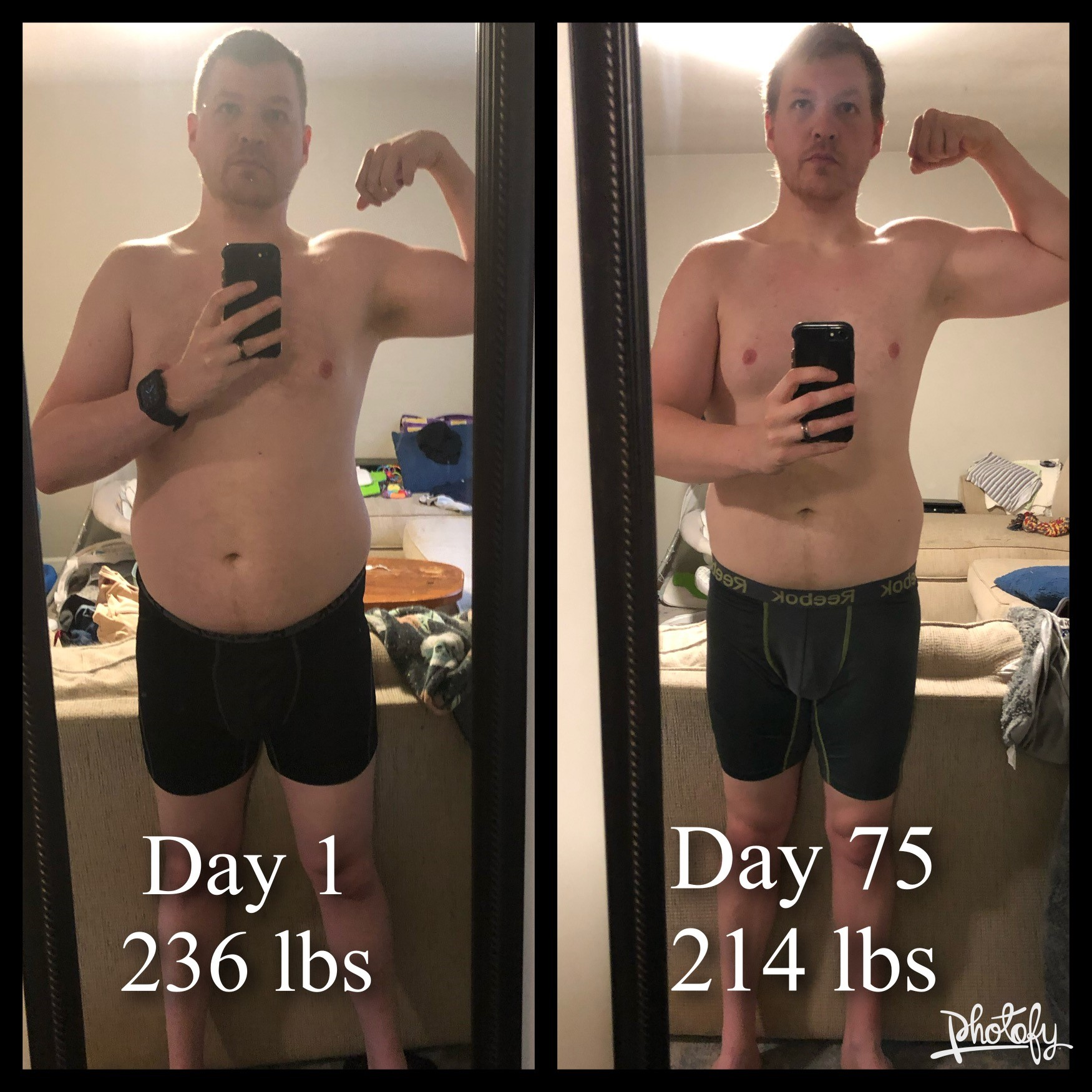 Before and After 22 lbs Fat Loss 6 feet 3 Male 236 lbs to 214 lbs