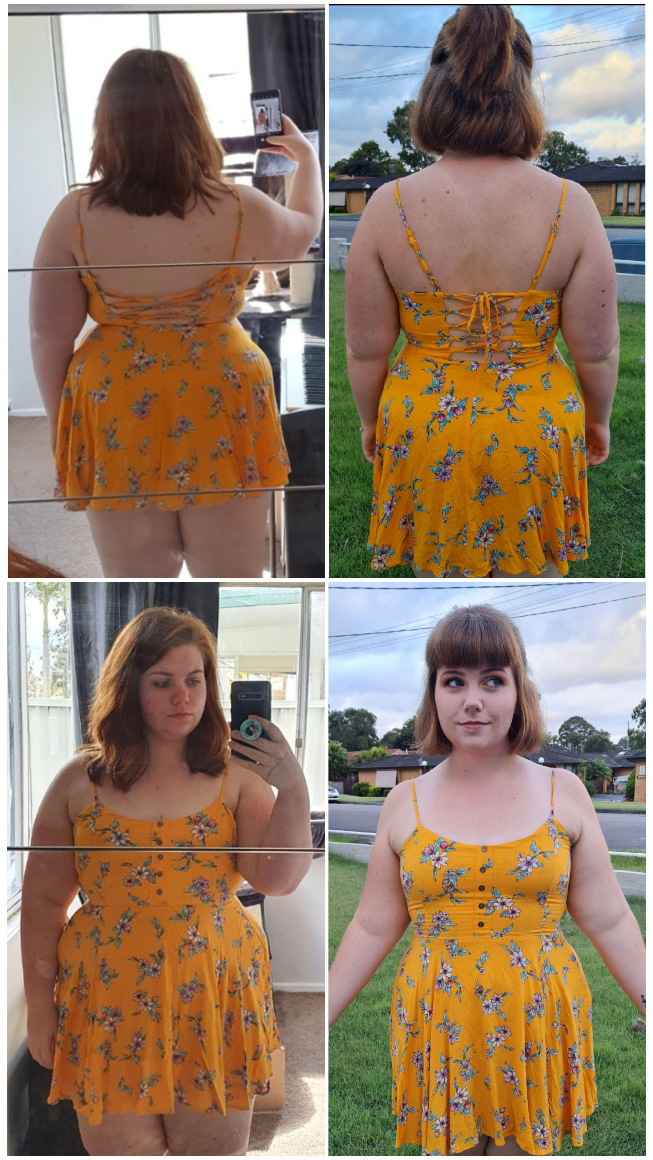 53 lbs Fat Loss Before and After 5'6 Female 271 lbs to 218 lbs