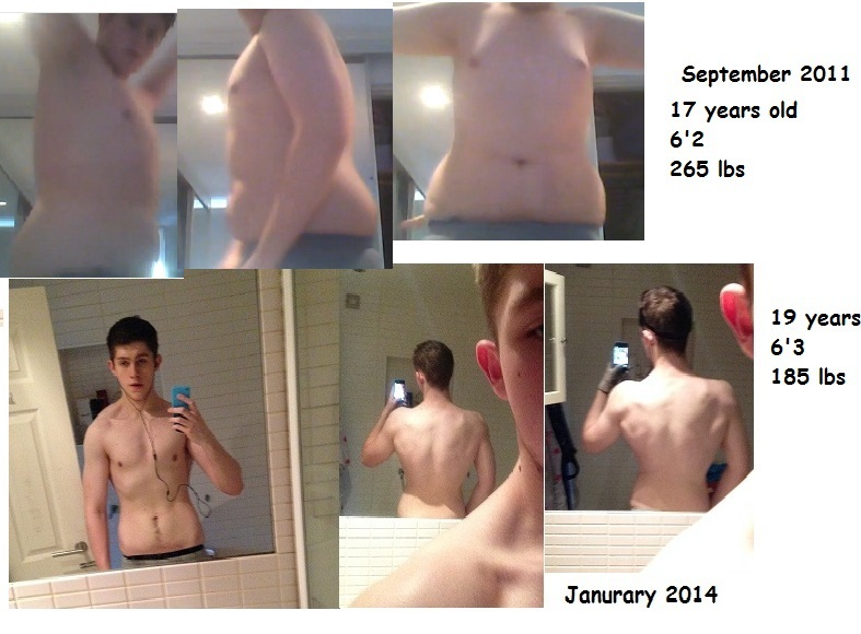 80 lbs Weight Loss Before and After 6 foot 3 Male 265 lbs to 185 lbs